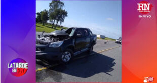 Fuerte accidente en Ruta 11 entre un camión y una camioneta